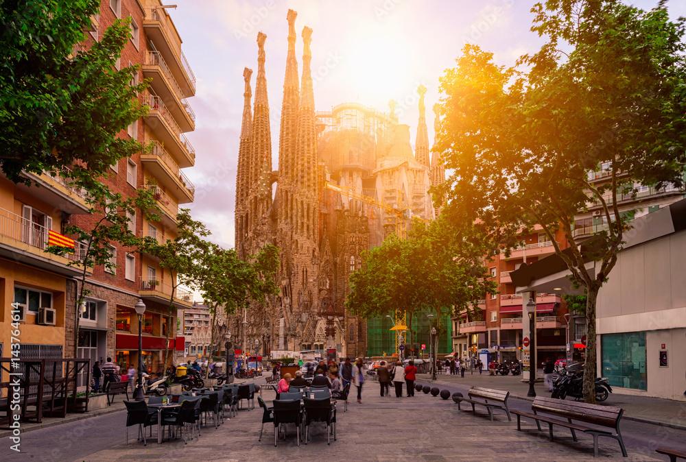 Cozy street in Barcelona, Spain