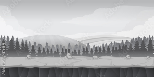 Poster Taupe Black and White forest game background landscape. Vector illustration.