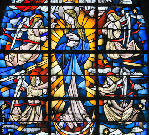 Fotografie, Obraz  Stained Glass - Mother Mary