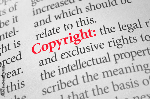 Fotomural Definition of the word Copyright in a dictionary