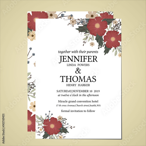 Wedding Invitation Card Floral Vintage Style Buy This