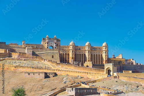 Deurstickers Vestingwerk The impressive landscape and cityscape at Amber Fort, famous travel destination in Jaipur, Rajasthan, India.