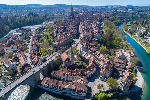 Aerial view of Bern old town