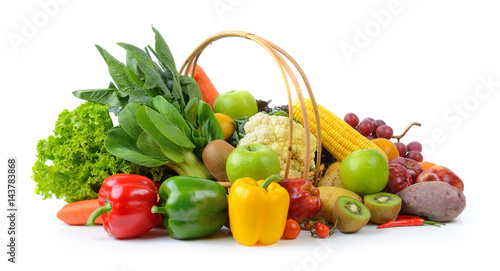 Poster Cuisine vegetables and fruits on white background