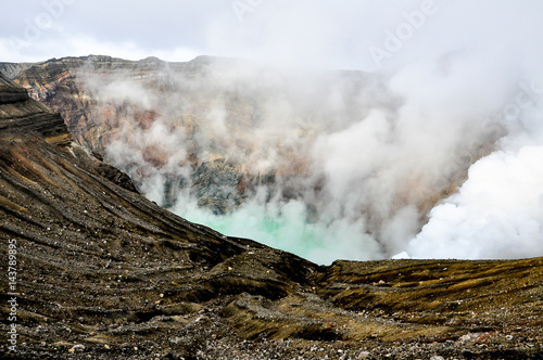 Steaming crater of the Mount Aso, Japan Wallpaper Mural