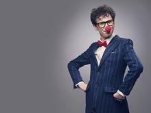 Businessman Wearing Clown Nose
