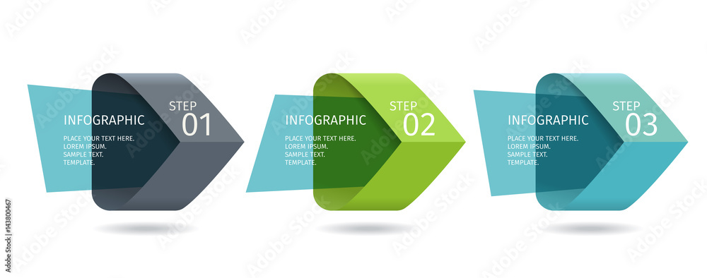 Fototapety, obrazy: Infographic arrows with 3 step up options and glass elements. Vector template in flat design style
