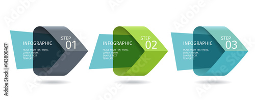 Fototapeta Infographic arrows with 3 step up options and glass elements. Vector template in flat design style obraz