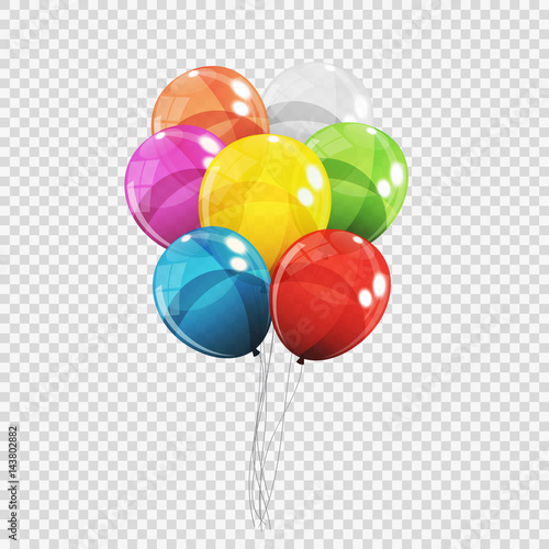 Fotografía  Group of Colour Glossy Helium Balloons Isolated on Transparent B