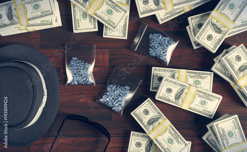 Fotografie, Obraz  Illegal business drugs and dollars, Mafia drug dealer, 3D rendering