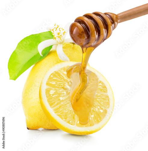 dripping honey on lemons isolated on a white background Wallpaper Mural