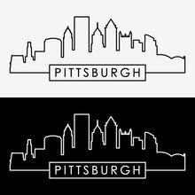 Pittsburgh Skyline Linear Style