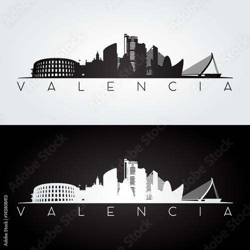 Valencia city skyline silhouette