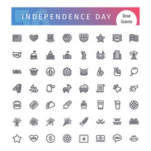 USA Independence Day Line Icon...