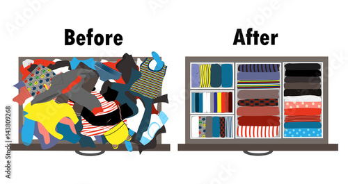 Fotografía  Before and after tidying up kids wardrobe in drawer