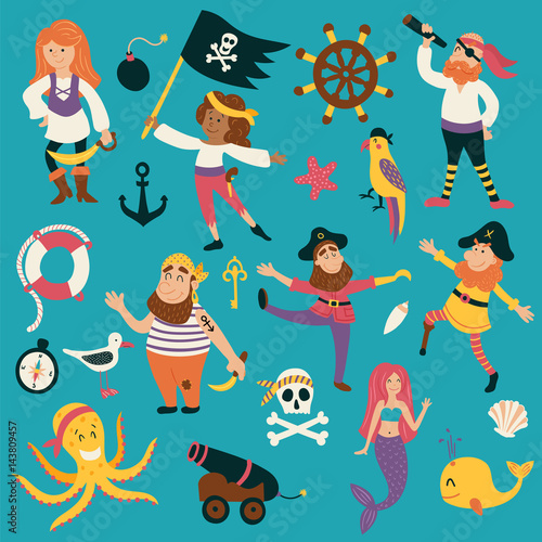 Plakat zestaw piratów