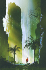 Fototapeta Wodospad scenery of a man looking at the magnificent waterfall in rock cave with beautiful sun light,illustration painting