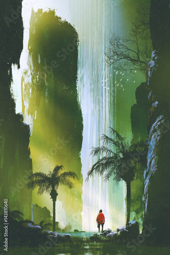 scenery of a man looking at the magnificent waterfall in rock cave with beautiful sun light,illustration painting