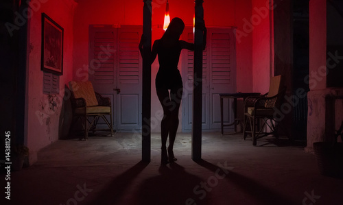 Photo  Sexy Woman Silhouette Dancing at the Hotel