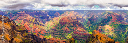 Poster Diepbruine Panoramic view of dramatic landscape in Waimea cayon, Kauai