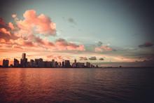 Miami Florida Sunset Over Down...