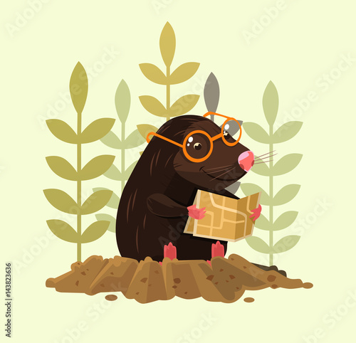 Fotografie, Obraz  Cute happy smiling mole character sitting and read map