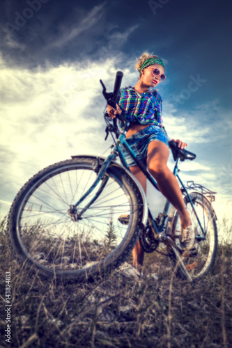 Aluminium Prints Cycling Girl with a bicycle.