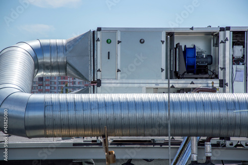 Fotografie, Obraz  Air Handling Unit for the central ventilation system on the roof of the mall