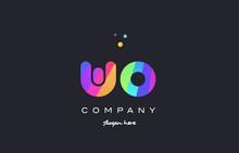 Wo W O  Colored Rainbow Creative Colors Alphabet Letter Logo Icon