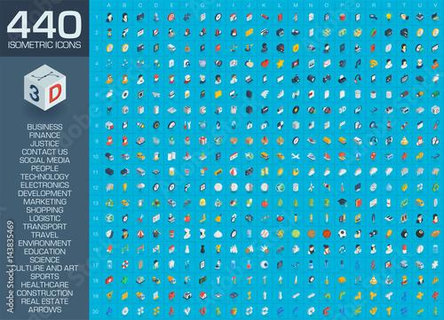 3d web icons set. Vector illustration of isometric flat symbols for business, contact us, development, social media market, seo technology, shop, education, sport, healthcare, art and construction.