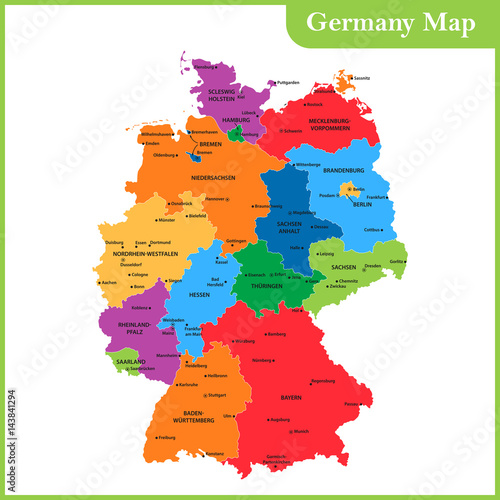 Canvas Print The detailed map of the Germany with regions or states and cities, capitals