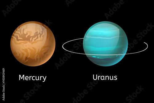 High quality mercury galaxy astronomy uranus planet science globe cosmos star vector illustration Canvas Print