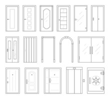 Icons Set Of Doors Types. Collection In Thin Linear Style. Entrance To The House, Classic Wooden Or Glass Interior Doors, Lift And Safe. Simple Design. Vector Illustration Isolated On White Background