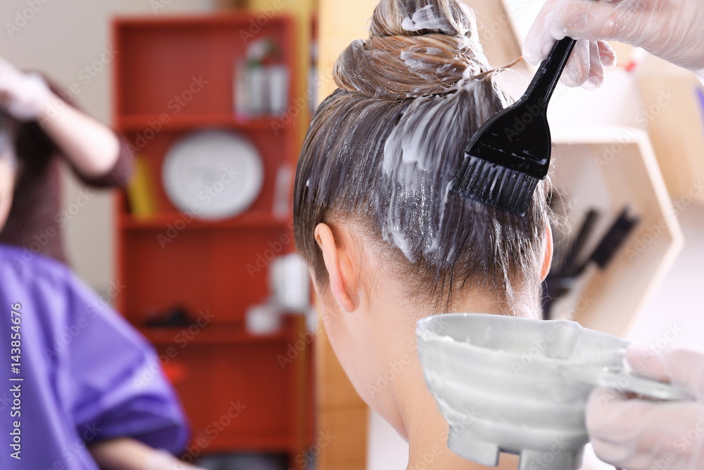 Fototapety, obrazy: Process of dyeing hair at beauty salon