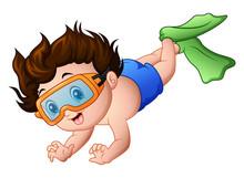 Cute Boy Cartoon Snorkeling