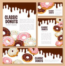 Vector Templates Set For Donut Desserts