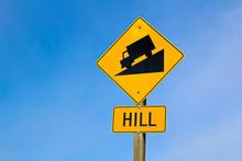 Approaching Hill Sign Along Hi...