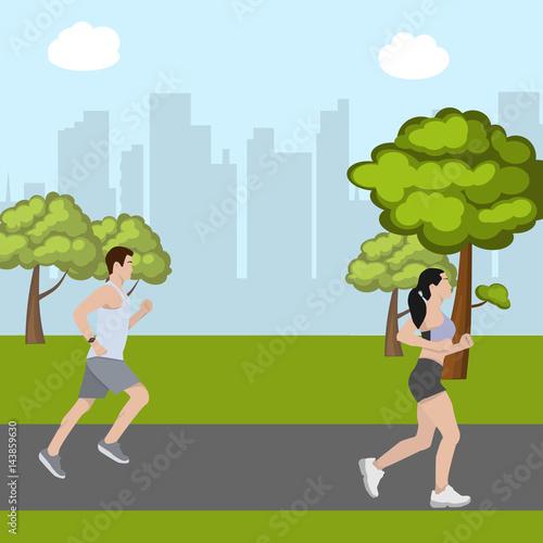 Deurstickers Groene Man and woman running in park
