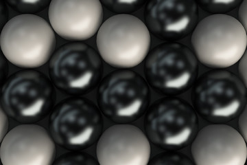 Pattern of black and white spheres