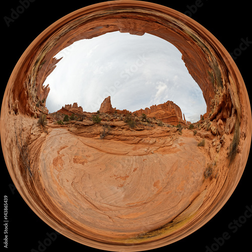 Fotografie, Obraz  Globe view of Park Avenue in the Arches National Park near Moab, Utah
