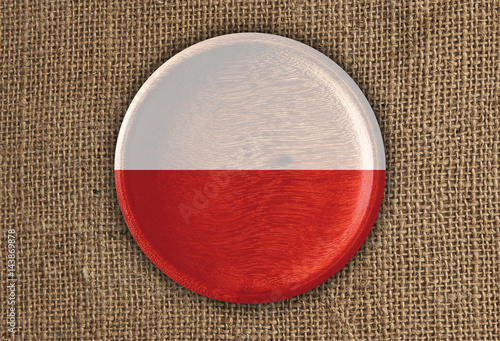 Photo  Poland Textured Round Flag wood on rough cloth