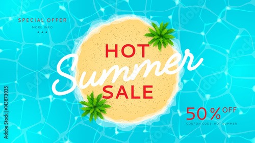 Web banner for summer sale  Top view on island with palm trees