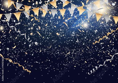 Obraz Festival background with party flag and confetti Vector - fototapety do salonu