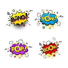 Comic speech bubbles and splashes set with different emotions and text Bang, Pow, Pop, Boom. Vector bright dynamic cartoon illustrations isolated on white background.