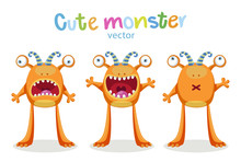 Cute Cartoon Monsters Emotions. Vector Set Solated On White Background. Cute Animal Monster Expressions And Emotions.