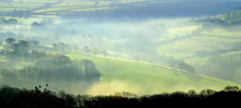 Panoramic View Over Axe Valley, Devon On A Foggy Spring Morning
