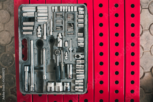A set of tools in an old working suitcase. All for repair