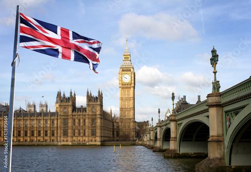 Fototapeta London Big Ben and Westminster bridge and british flag