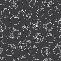 fototapeta jednolite wzór z ręcznie rysowane owoców