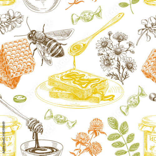 Cotton fabric Vector hand drawn honey Illustration.